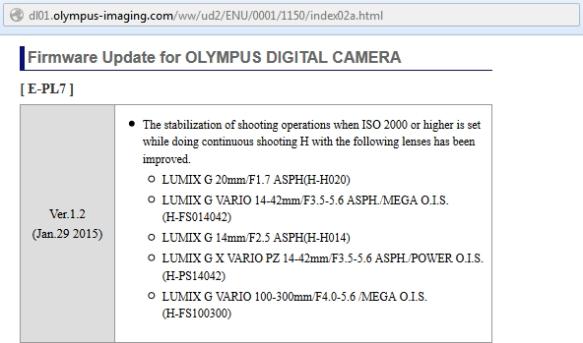 Olympus Pen e-PL7 v1.2 Firmware - Neler yeni ?